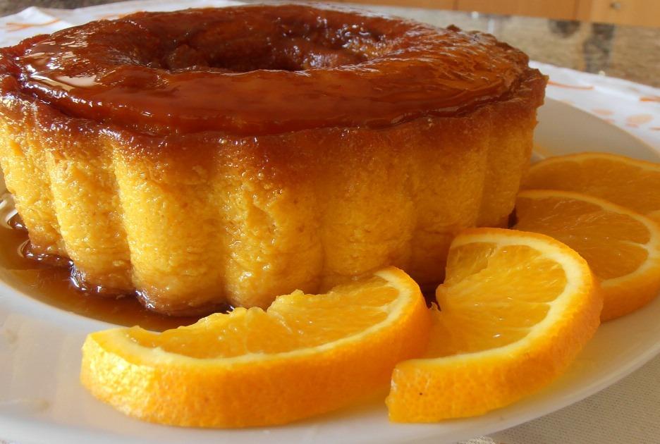 Pudim de azeite, mel e laranja