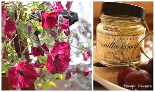 Salada de cerejas com molho de chocolate e ameixas secas