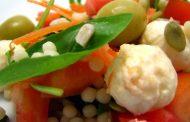Salada de Cuscus com Mozzarella Fresco e Rucula