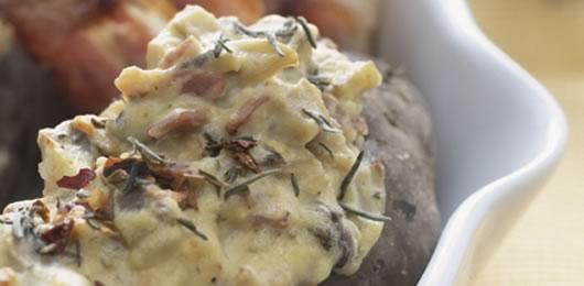 Batatas doces recheadas com cogumelos e ricotta