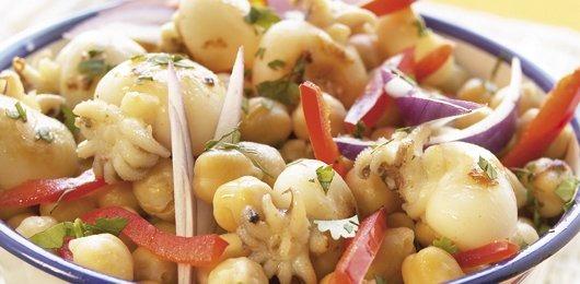 Salada de choquinhos com grão
