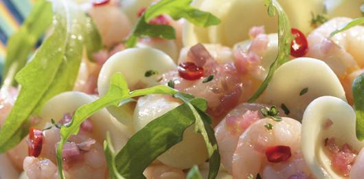 Salada de Camarões Picantes com Orecchiette