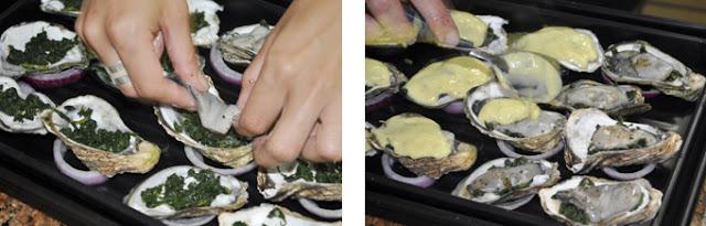 Conchas de ostras e espinafres