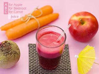 Sucos de cenoura, beterraba e maçã