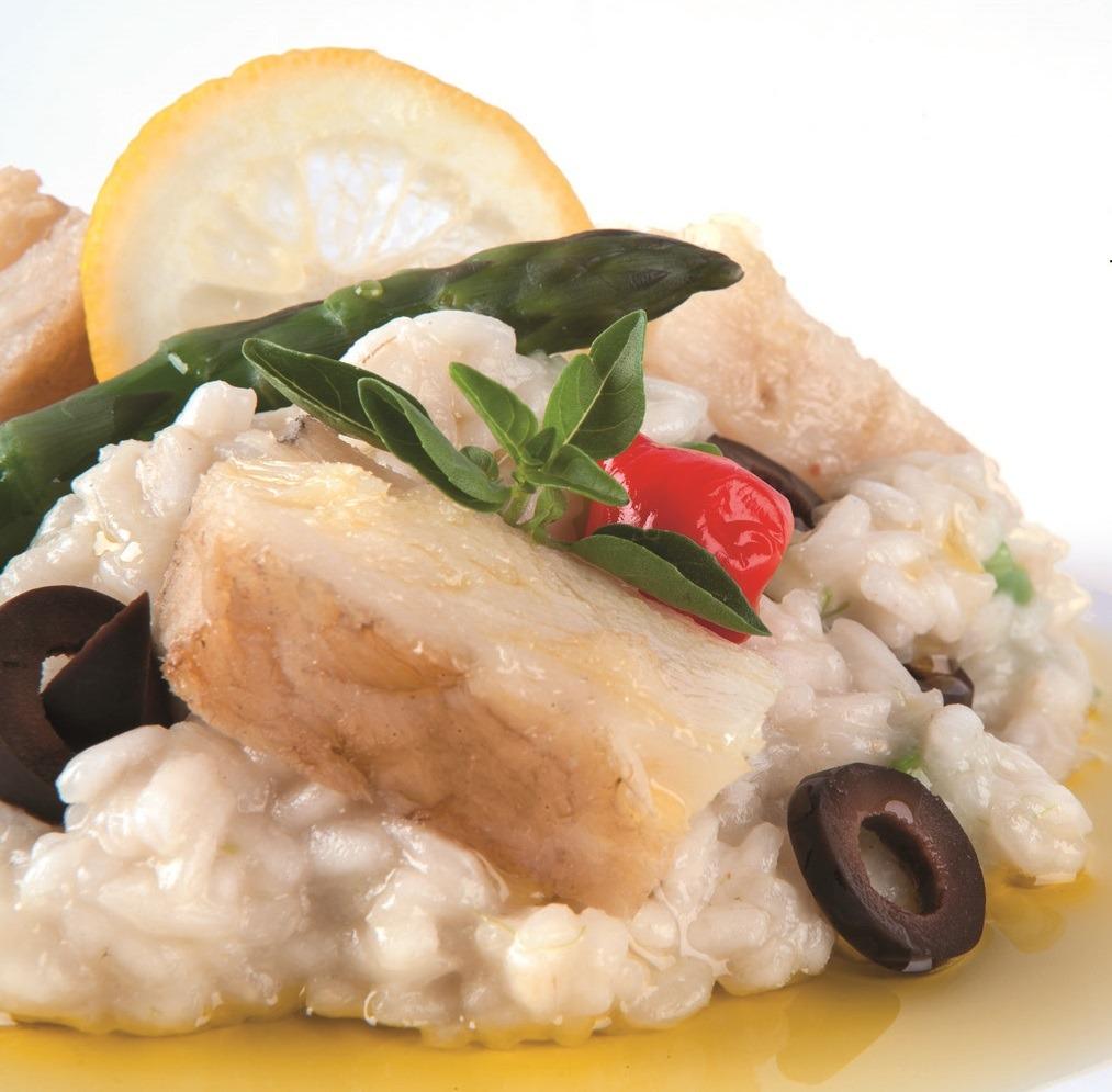 Risoto de espargos com Bacalhau